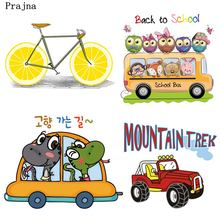 Prajna Cars Heat Transfers Hot Vinyl Patches Lemon Biker Bus Truck Iron On Patch For Clothing DIY Appliques Boy T-shirts Sticker(China)