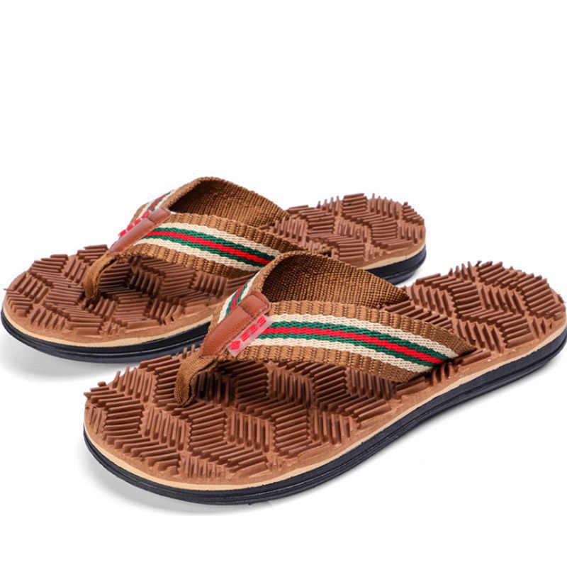 13f815f7e 2018 New Men Summer Flip Flops Male Personality Beach Shoes Wear-resistant  Stripe Massage Casual