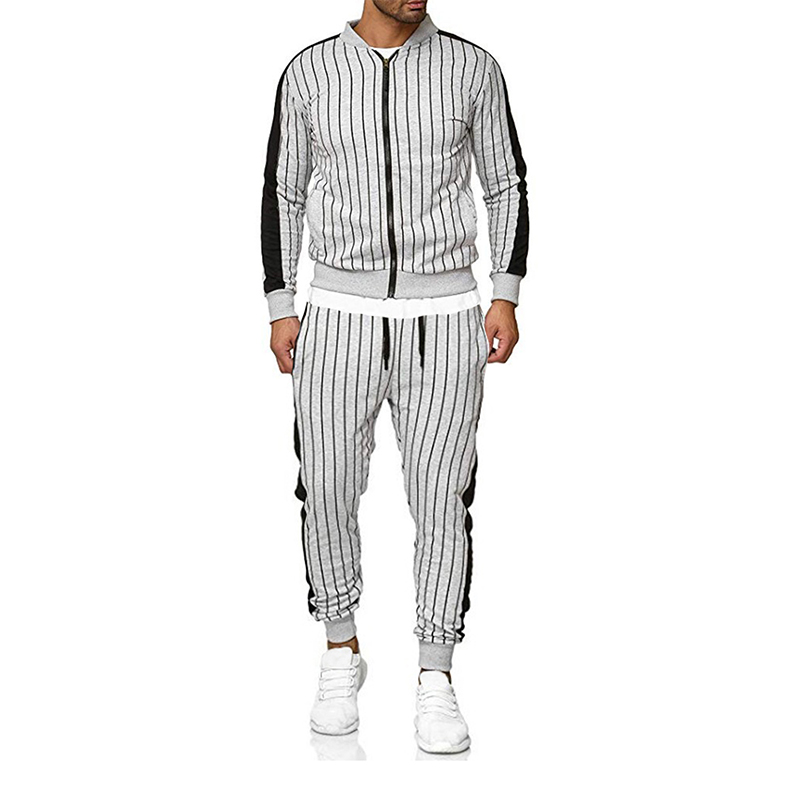 2019 New Men'S Striped Sports Suit Casual Sports Jacket Cardigan Outdoor Sports And Leisure Runners Suit