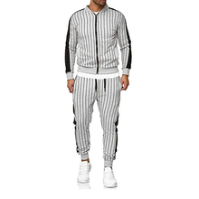 2019 New MenS Striped Sports Suit Casual Jacket Cardigan Outdoor And Leisure Runners