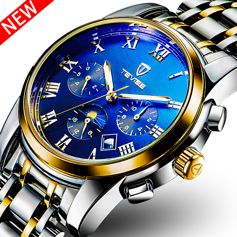 Tevise Brand Luxury  Men's Wristwatches Automatic Mechanical Fashion Moon Phase Steel Leather Male watches Relogio Clock 2017 tevise fashion automatic watch men mechanical watches man self winding stainless steel band moon phase 24 hour clock n9036g