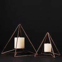 High End Simple Design Golden Pyramid Style Candle Holder Metal Copper Handmade Candlestick Holder Wedding Home