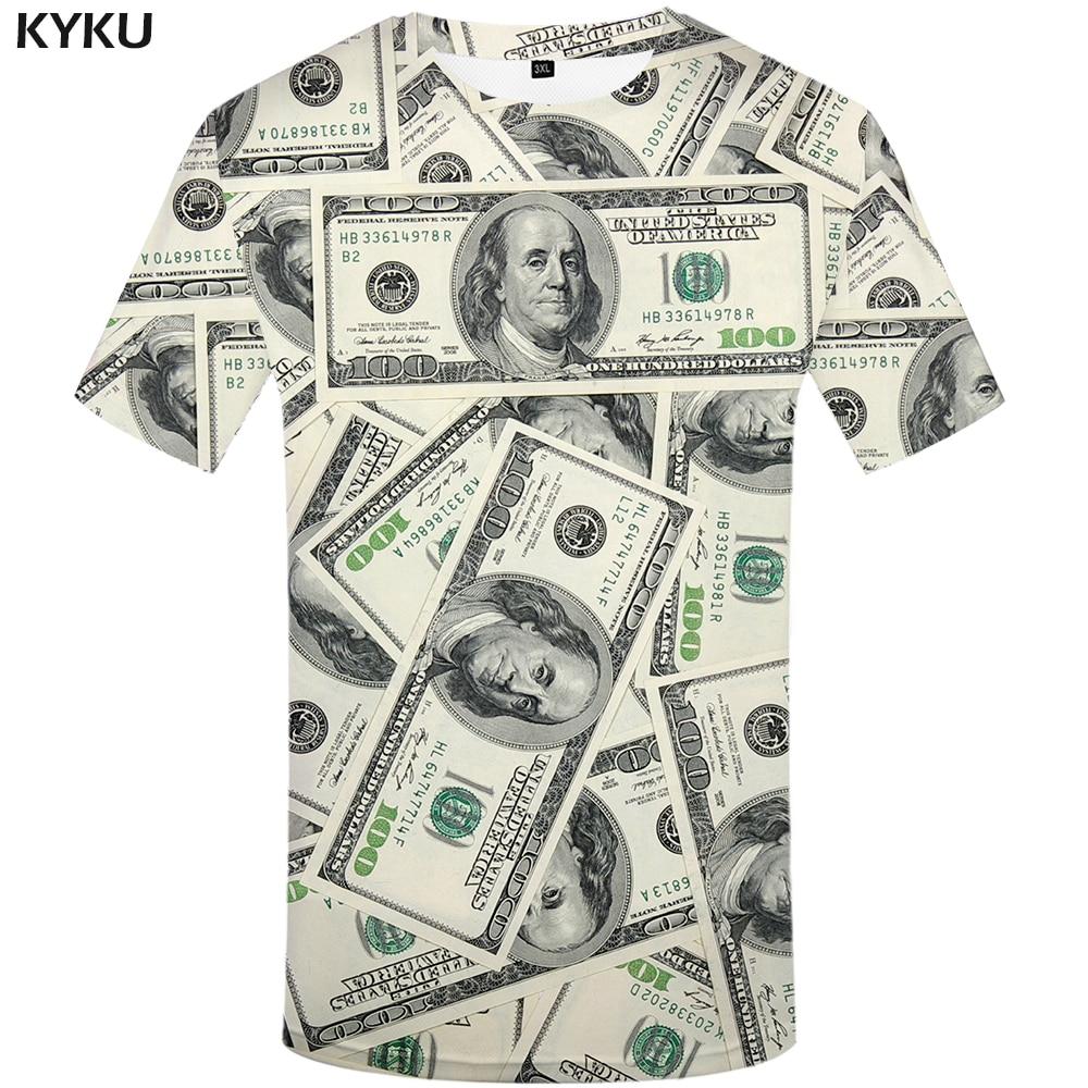 KYKU Dollar T Shirt Men Money Tshirts Gothic 3d T-shirt Funny T Shirts Hip Hop Tshirt Cool Mens Clothing 2018 New Summer Top