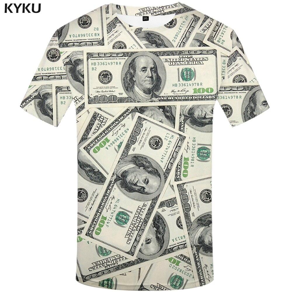 KYKU Dollar camiseta hombres dinero camisetas gótico 3d camiseta divertida Hip Hop camisetas camiseta Cool hombres ropa 2018 nueva camiseta de verano