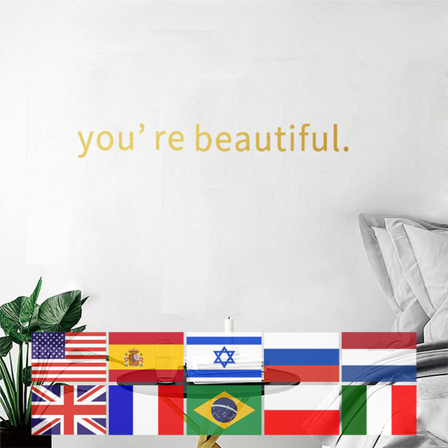 You Are Beautiful Wall Stickers 9 Languages Bedroom Home Decoration Sticker Art Decal