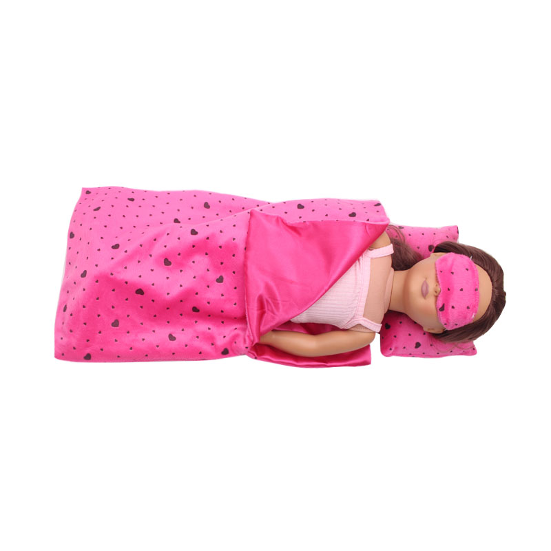 18 Inch Girls Doll Bedding Little Magenta Bed Quilt Pillow Eye Mask American Newborn Dress Baby Toys Fit 43 Cm Baby Dolls C292