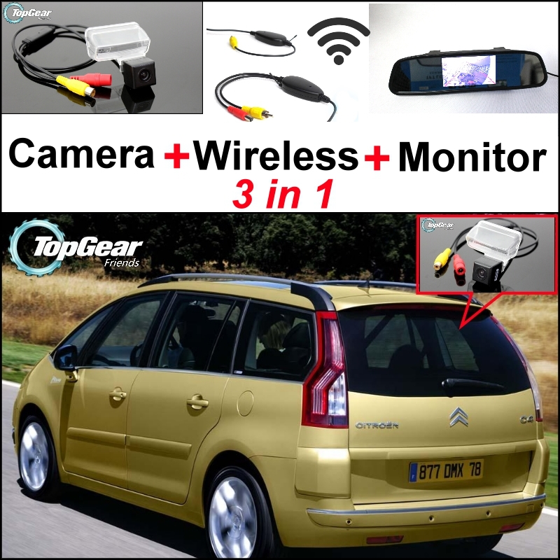 3 in1 Special Camera + Wireless Receiver + Mirror Monitor Easy DIY Back Up Parking System For Citroen C4 Picasso wireless pager system 433 92mhz wireless restaurant table buzzer with monitor and watch receiver 3 display 42 call button