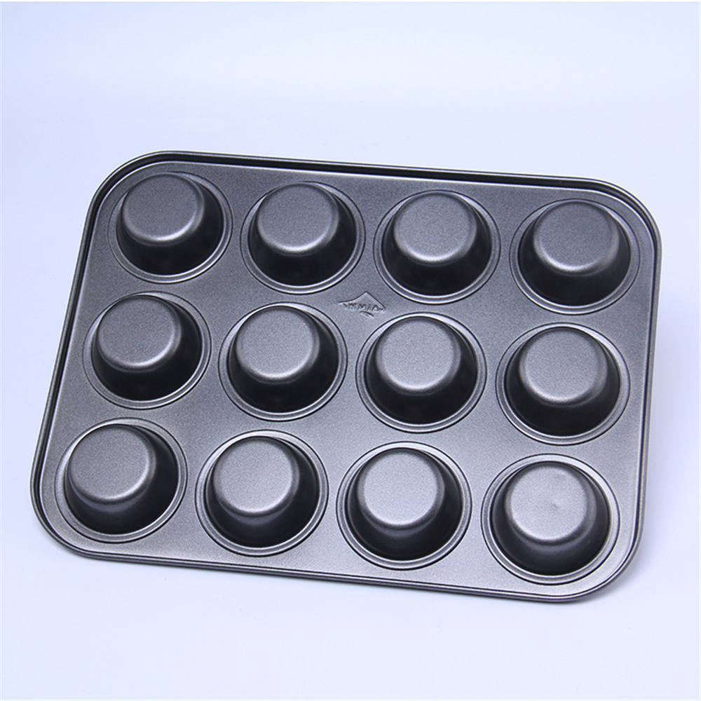 AMW Metal Bakeware Baking Pastry Tools Large 12 Cups Cake Baking Pan Cupcake Mold Tray Kitchen  Accessories Supplies CC1018