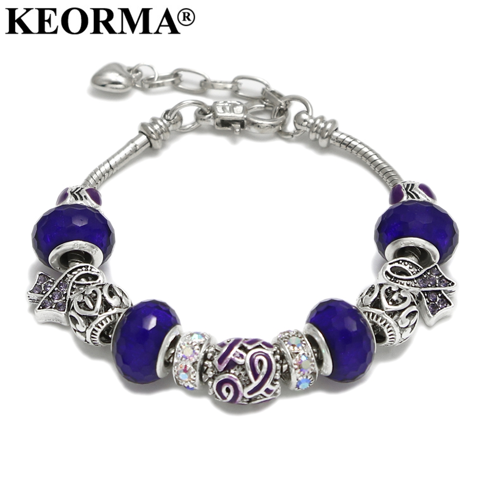 KEORMA Pink Ribbon Charm Bracelet & Bangle for Women European Murano Glass Bead Ajustable Heart Chain Bracelet Fashion Jewelry