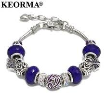 KEORMA Pink Ribbon Charm Bracelet & Bangle for Women European Murano Glass Bead Adjustable Heart Chain Bracelet Fashion Jewelry