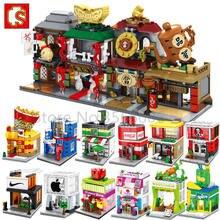 Jedna sprzedaż Mini seria uliczna cukiernia centrum serwisowe Chinatown klocki edukacyjne MOC zestawy modeli dla dzieci
