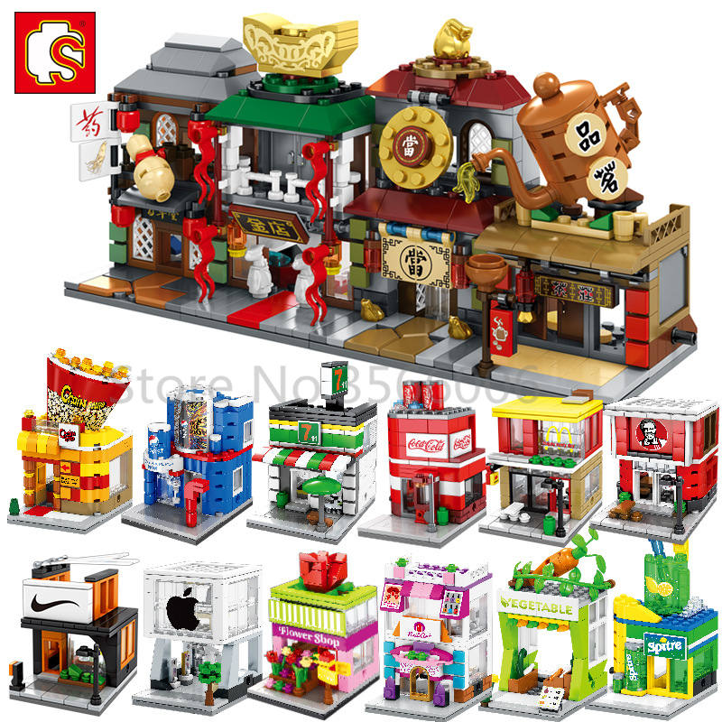 Single Sale Mini Street Series Cake Shop Service Center Chinatown Building Blocks Educational MOC Sets Models For Kid