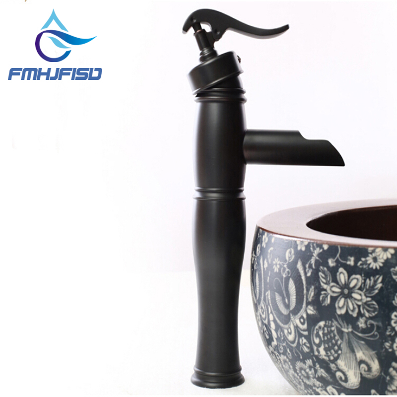 Solid Brass Oil Rubbed Bronze Waterfall Bathroom Basin Faucet Sink Mixer Tap NEW oil rubbed bronze faucet bathroom mixer tap bath sink tap brass tap torneira banheiro basin mixer waterfall faucet