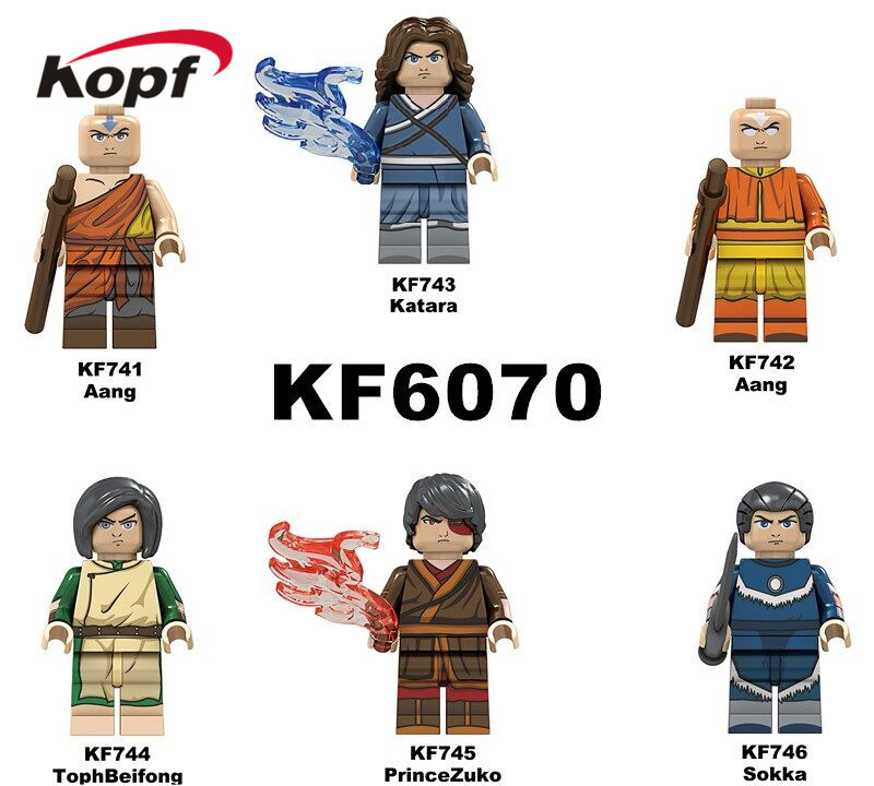 KF6070 Single Sale Bricks Aang Katara TophBeifong Prince Zuko Sokka Model Building Blocks Figures For Children Learning Toys