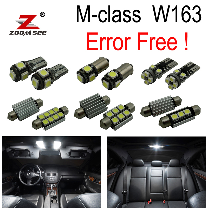18pc x Error Free LED interior dome light Kit package For Mercedes Benz M ML class W163 ML320 ML350 ML430 ML500 (1998-2005) cawanerl car canbus led package kit 2835 smd white interior dome map cargo license plate light for audi tt tts 8j 2007 2012