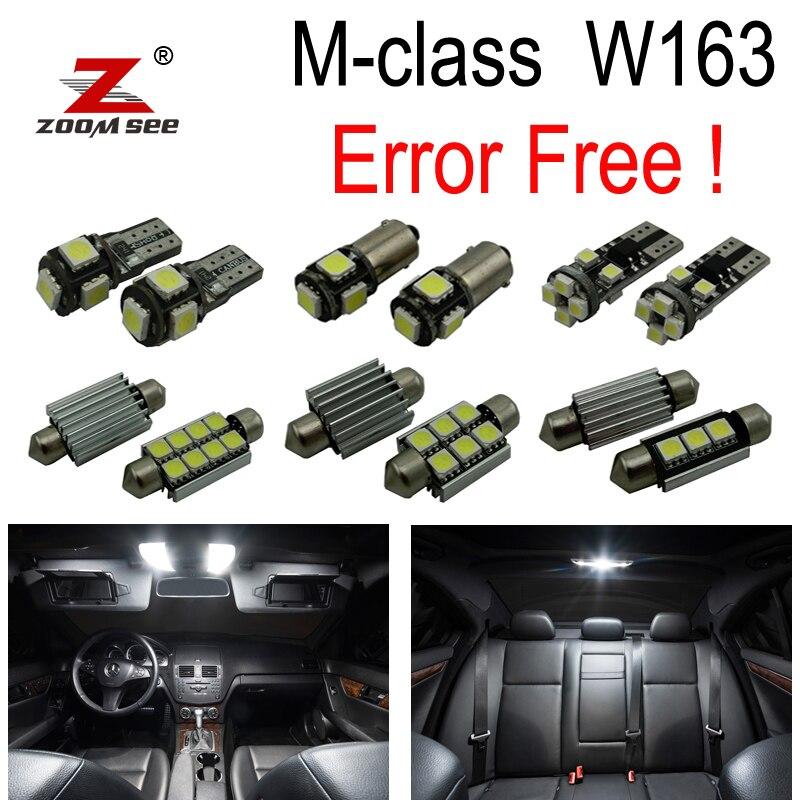 18pcs LED License plate lamp + interior dome light Kit For Mercedes Benz M ML class W163 ML320 ML350 ML430 ML500 (1998-2005) цена