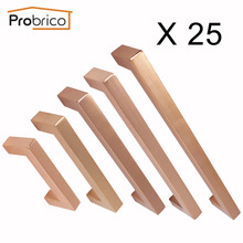 Probrico 25 Pcs Rose Gold Cabinet knobs and handles for Furniture Diameter 12 mm Square T Bar Kitchen Cupboard Closet Door Pulls