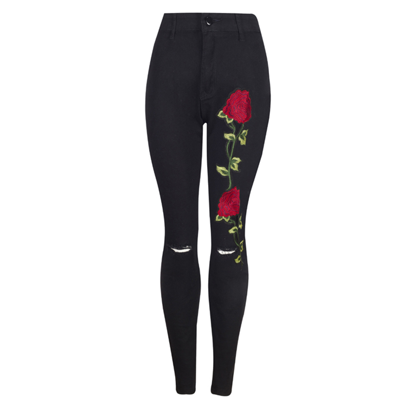2017  New Arrival Women High Waist Black Embroidery Skinny Jeans Without Ripped Woman Fashion Floral Denim Pants Trousers Jeans new embroidered flower skinny stretch high waist jeans without ripped woman floral denim pants trousers for women jeans j18 z35
