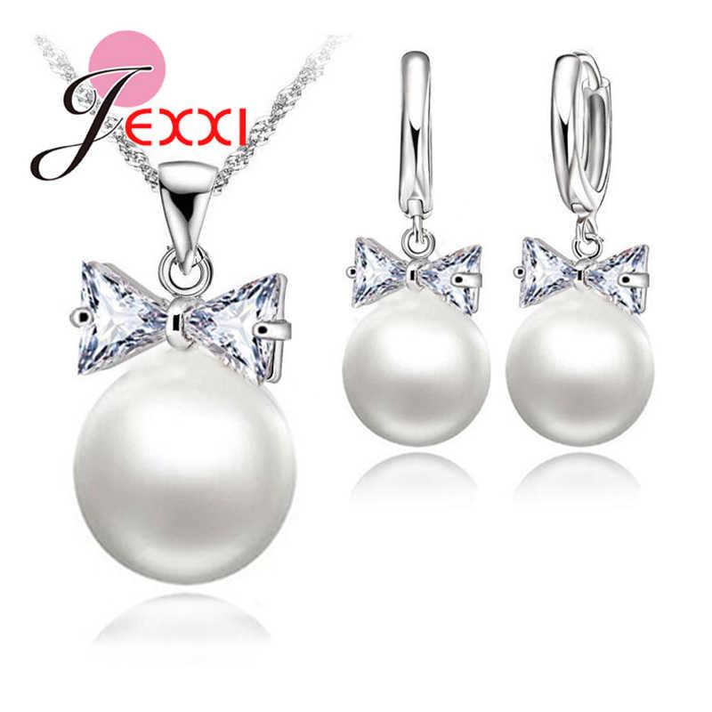 925 prata esterlina pérola hoop brincos colar bowknot cristais conjunto de jóias para mulheres meninas festa de casamento presentes agradáveis s