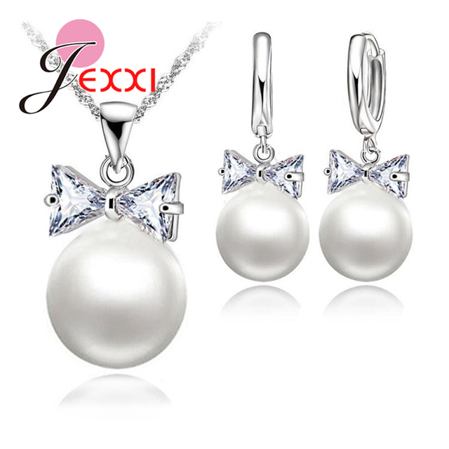 7520fefe1 JEXXI S90 Silver Color Pearl Hoop Earrings Necklace Bowknot Crystals  Jewelry Set For Women Girls Wedding Party Nice Gifts S