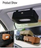 2017 New OHANEE Universal Car Sun Visor Tissue Box Pu Leather Paper Dispenser Holder