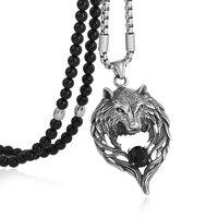 Черный натуральный камень бисера ожерелье Мужская титана стали Племенной Волк цепочка с подвеской Байкер для мужчин ювелирные изделия