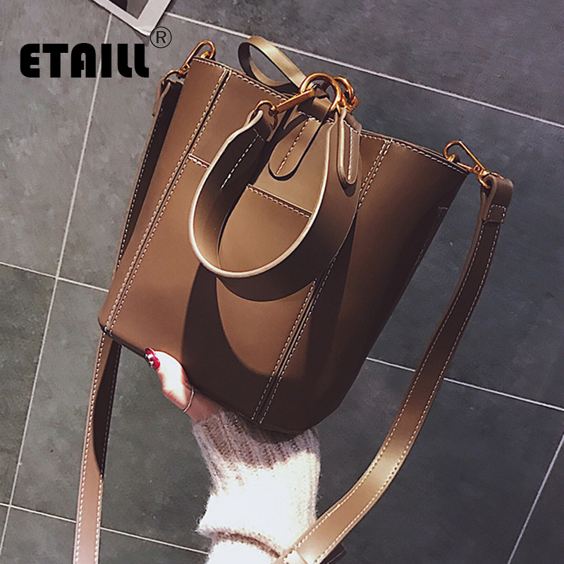 ETAILL 2018 Top Handle Bucket Composite Bag Women Luxury Designer Brand Bag Fashion PU Leather Handbag Women Messenger Bags pongwee 2017 women messenger bags handbag set pu leather composite bag women bag top handle bags female famous brand