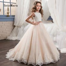 Vintage Flower Girl Dresses For Weddings Custom Made Princess Sequined Lace Bow Kids First Communion Gown Pageant Dresses 2017 two pieces lace flower girl dresses for weddings vintage pageant gowns communion