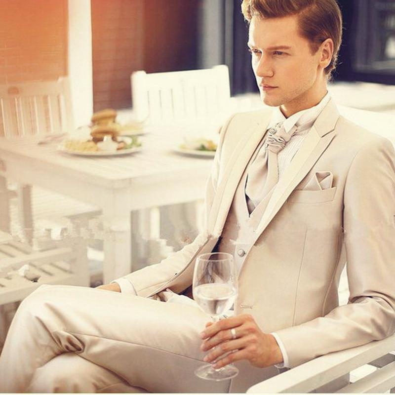 Offre spéciale élégant fait sur commande hommes costume Beige clair (veste + pantalon + gilet) mariage marié Tuxedos garçons d'honneur costumes Smart décontracté Styles