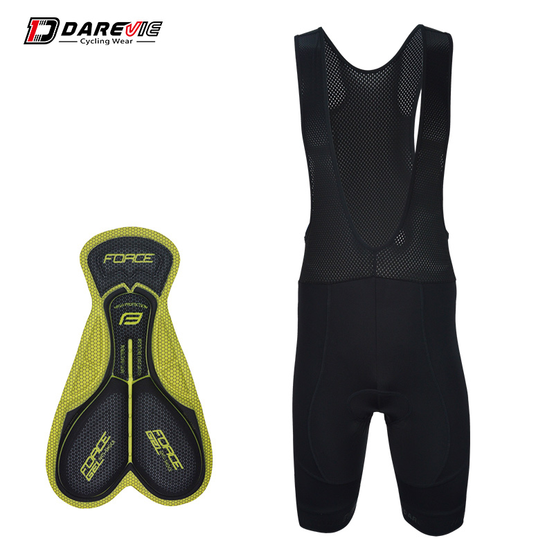 Darevie 3D gel padded cycling bib shorts team pro black bib shorts