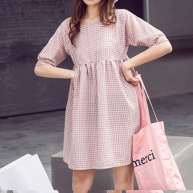 Casual summer plaid dress women college style short sleeve cute mini dresses  plus size pink female clothing fashion girls cute c9cdb7ca0