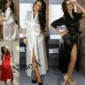 2016 Chegada New Hot Mulheres Sexy Deslizamentos Eróticas Nightdress Lace Pijamas Negligee Babydoll Chemise Pijamas Roupão De Cetim Longo