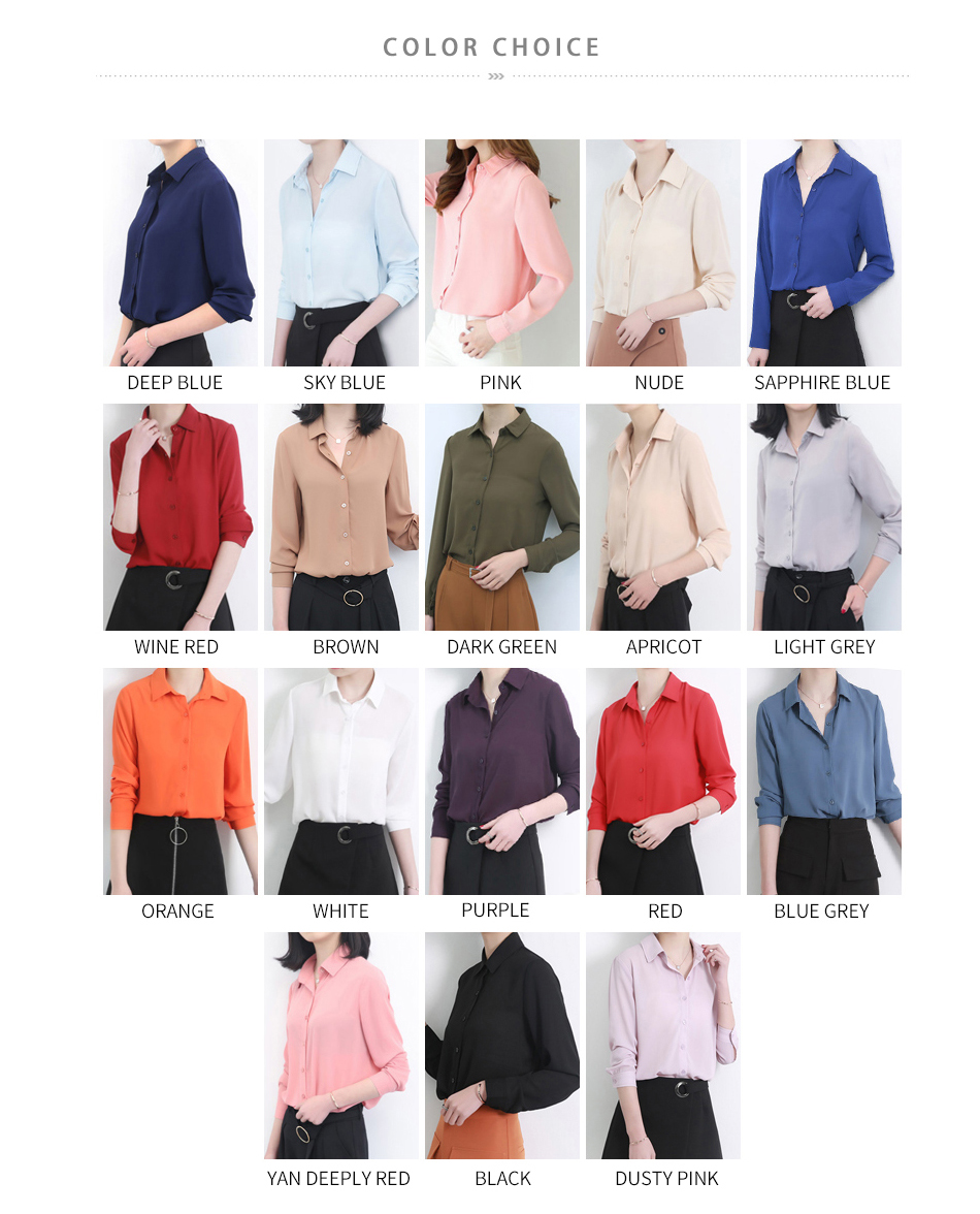 Women's Classic Shirt Chiffon Blouse Loose Long Sleeve Casual Shirts Lady Simple Style Tops 17