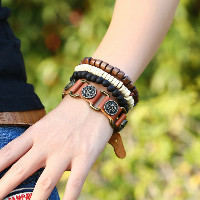 Four Layers Unisex Bracelet with Wood, Leather and Nature Stone Combination
