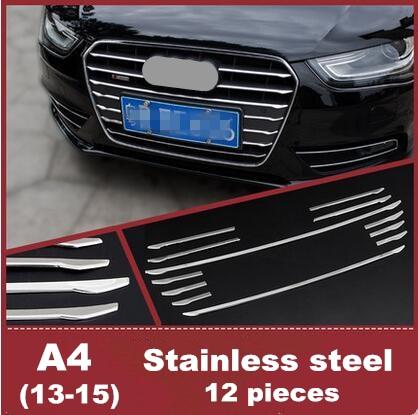 Prix pour 12 pcs Car styling Avant Grille décoration bandes cover version stickers Auto Extérieur moulage 3D autocollants pour Audi A4 2013-15