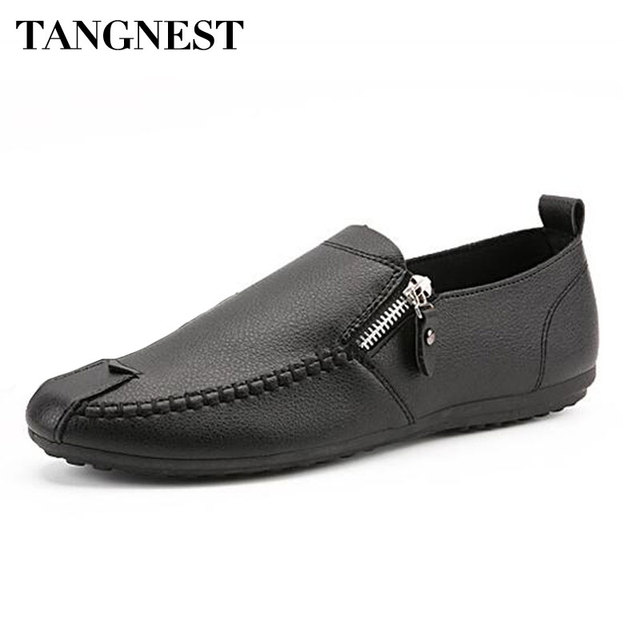 Tangnest Summer PU Leather Casual Men Shoes Fashion Side Zipper Flats Man  Round Toe Loafers Driving