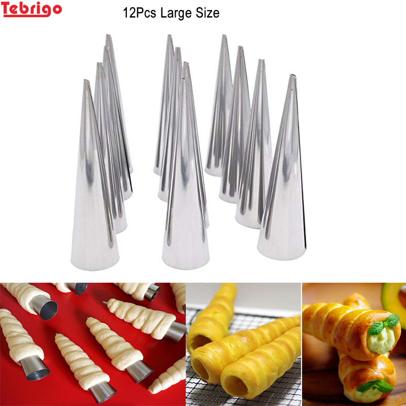 Set 12 Large Size Stainless Steel Pastry Cream Horn Molds Baking Tube Cone Roll