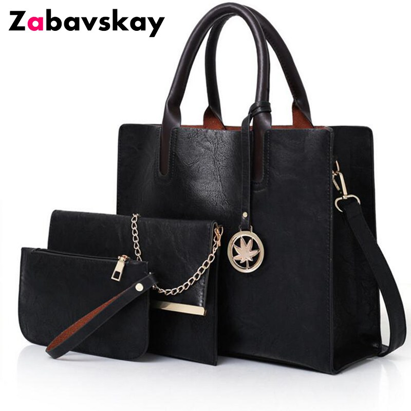 2018 Brand Vintage Leather Bag Women Shoulder Bag Ladies Large Capacity Crossbody Bag Female 3 Sets Handbag+Small Purse DJZ408 miesati luxury 3 sets handbag women composite bag female large capacity tote bag fashion shoulder crossbody bag small purse