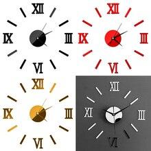 Креативные римские цифры зеркальная стена стикер настенные часы 3D Домашняя мода зеркальное Искусство DIY настенные наклейки украшения бескаркасные часы