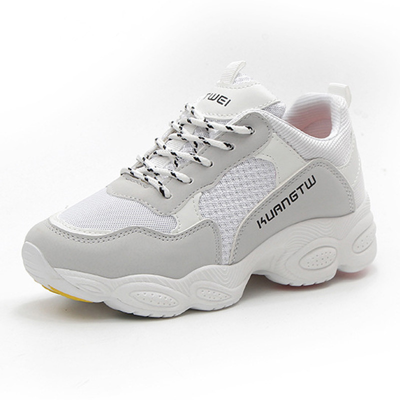 2018 New Women Vulcanize Shoes Autumn Breathable Platform Shoes Chunky Women's Sneakers Ladies Lace Up Trainers Chaussure Femme