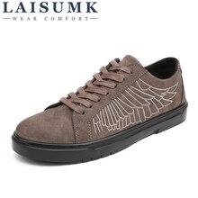 2019 LAISUMK Spring/Summer Men Shoes Breathable Mens Casual Fashio Low Lace-up Canvas Flats Zapatillas Hombre