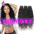2016 On Sale Indian Virgin Hair Water Wave 3Bundle Indian Curly Virgin Hair Natural Weave Alimice Raw Indian Wet Wavy Human Hair
