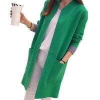 Women Sweater Long Cardigan 2018 New Fashion Autumn Winter Long Sleeve Loose Knitted Cardigan female Sweaters Long Coat LU405