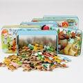 Бесплатная доставка, 60 шт. деревянная головоломка игрушки, мультфильма головоломки, Железный ящик, специальные детские раннего детства обучающие игрушка