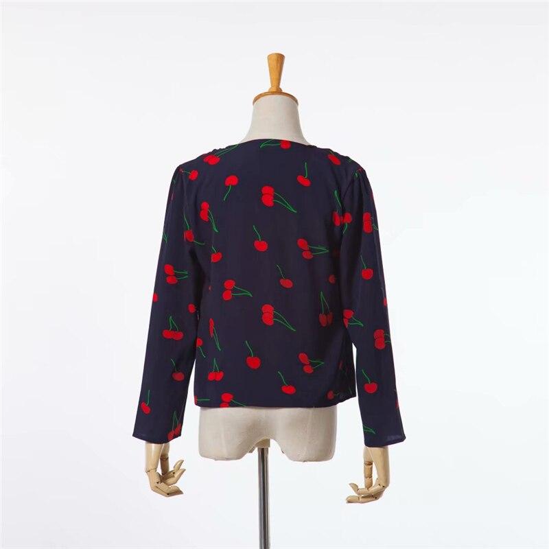 Rayón Chic Top Moda De Cereza cuello Primavera Camiseta Manga Picture As Camisas Larga Blusas Floral Vintage Womenv Estampado Mujer wfwAFzRq