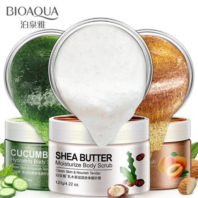 BIOAQUA Natural Organic Body Scrub Exfoliator Exfoliating Cream Moisturizing Whitening Peeling Bath Cream 120g 1