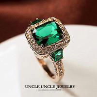 High Quality Man Made Green Emerald Luxury Woman Ring Rose Gold Plated Rectangle Crystal Lady Engagement
