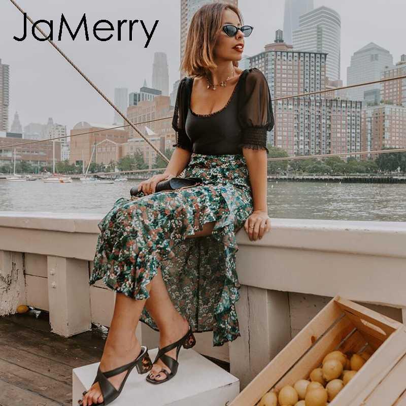 JaMerry винтажные сексуальные однотонные розовые черные Боди женские летние боди с пышными рукавами элегантные облегающие Женские вечерние повседневные Комбинезоны