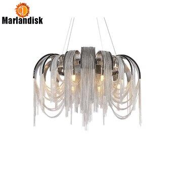 פוסט מודרני פשוט כרום Alluminium שרשרת תליון מנורת תליית נורדי אור עבור סלון מסעדת חדר שינה חדר אוכל