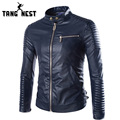 TANGNEST Fashion Men Leather Jacket 2017 Hot Sale Mandarin Collar PU Leather Jacket Men Three Colors Size XXL Mens Jacket MWP339